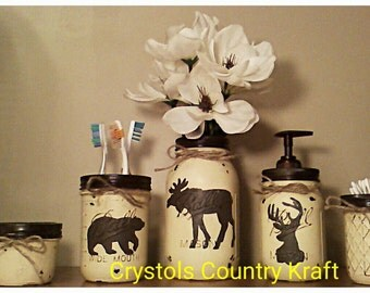 Deer buck,bear, moose bathroom set, Lodge theme bathroom , in a cream and dark brown color mason jar sets
