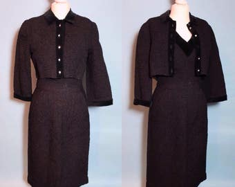 Femme Fatale vintage 50s charcoal wiggle dress and jacket set with pockets & rhinestone buttons - 1950s cocktail dress in shirred fabric