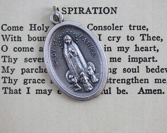 Lady of Fatima Pray For Us Medal - Our Lady of the Rosary Blessed Virgin Mary Religious Jewelry Supply Made in Italy (T07)