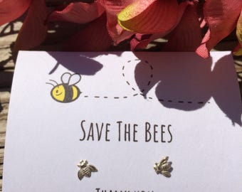 Sterling Silver Bee studs Save The Bees