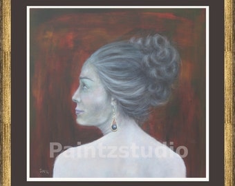 Woman painting print water colour grey hair woman earring wall art girl portrait middle aged woman art decor reds blacks