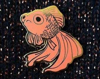 Sad Fish Hard Enamel Pin - Gold and Orange - Lapel Pin Cloisonné Badge - Goldfish Black Telescope