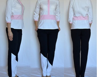 SALE! White, ivory, pink shirt, top, blouse.  Size UK 10 / US 6