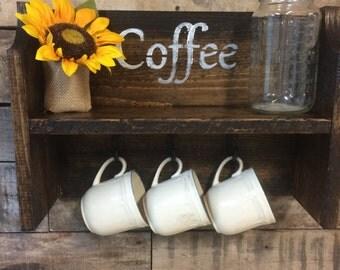 Rustic coffe or tea shelf. 5 inch deep shelf