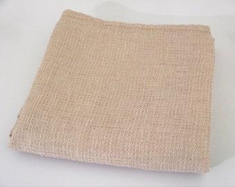 Soft 100% linen Flax blush pink  waffle bath towel .
