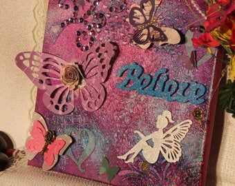 Pink blue and purple butterfly and fairy believe Mixed Media canvas wallArt,gift for her, girls room, mom, daughter,inspiration,home decor