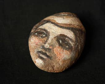 Hand Painted Stone Face One Of A Kind Vintage