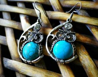 Turquoise owl earrings,owl Jewerly, owls, turquoise earrings,