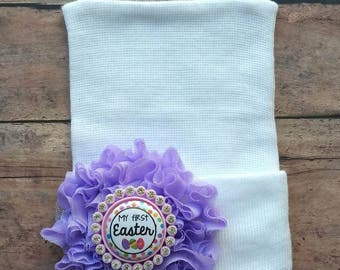 My first Easter baby hat -  easter newborn hat - baby girl easter hat - my first Easter gift - girl easter hospital hat - baby shower gift