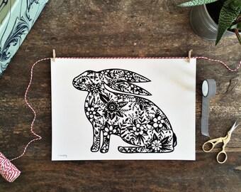 Hare A4 digital print