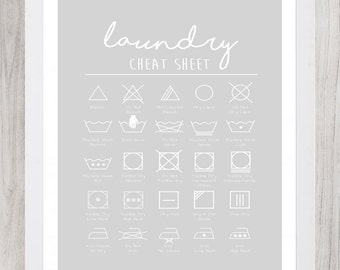 Laundry Cheat Sheet Digital Print