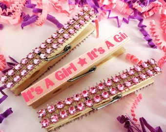 Baby Shower Clothespins, Bling Clothes Pins, Itu0027s A Girl Clothespins,  Decorative Clothespins,