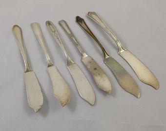 Vintage Mismatched Silver Plate Butter Knives (6) ~ Spreader ~ Silverware ~ Flatware ~ Repurposing ~ Metal Stamping ~ Vintage Wedding