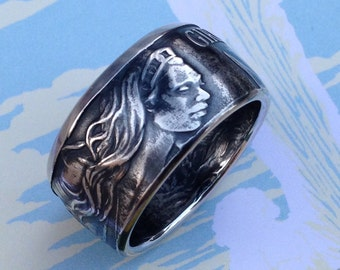 Girdle of Hippolyta (Hercules Series) Coin Ring -- 99.99% Pure Silver