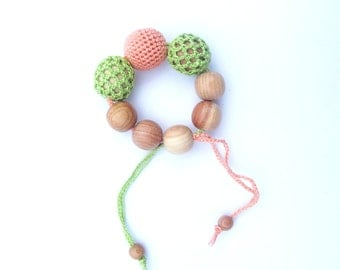Teething toy Crochet teether Wooden crochet teething toy New mom gift Eco friendly toys Natural teether Juniper teething toy Easter sale