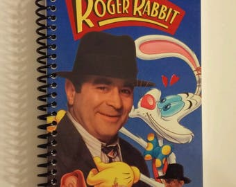 who framed roger rabbit spiral notebook hand made from original vhs tape movie cover