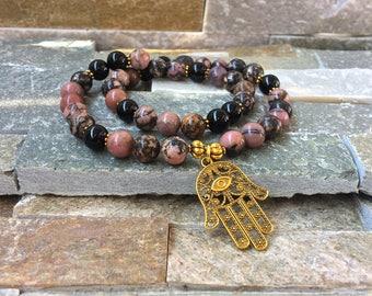 Hamsa bracelet mala rhodonite Bracelet Onyx