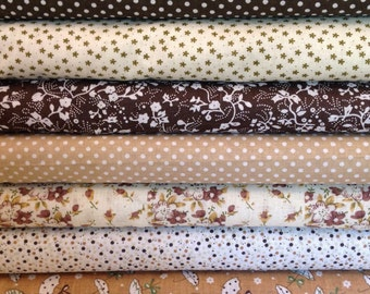 """BACK In Stock Precut FAT QUARTERS 7 Quilt Blanket Baby Boy Girl Kid Cream Floral Dot Brown White Tan Cotton   19.68"""" x 19.68"""""""