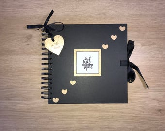"Handmade Personalised Adventure Scrapbook / Photo Album / Gift / Memory book. Small 8 x 8"" Black and Gold"