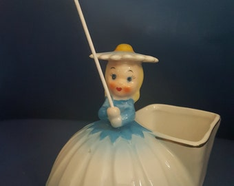 Vintage Blue Daisy Napco Flower Girl of Month 1956 w/ parasol Japan
