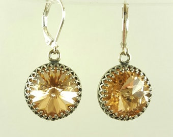 Champagne Swarovski Round Silver Dangle Earrings