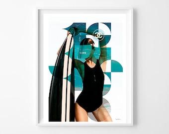 Chanel ref.04 - Mixed media collage, fashion, model, surf, interior design, illustration, vintage, print, home decor, poster, elegant-