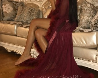 Dressing Gown with Marabou Trim - Burgundy