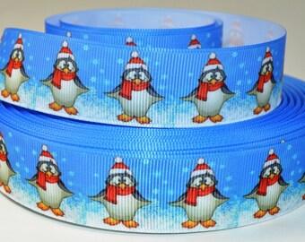 """1"""" Christmas Penguin - Print Grosgrain Ribbon"""