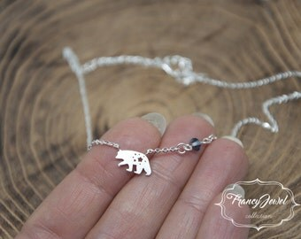Polar Bear necklace, silver necklace, animal necklace, star necklace, collarbone necklace, Swarovski crystal, made in Italy, gift for her