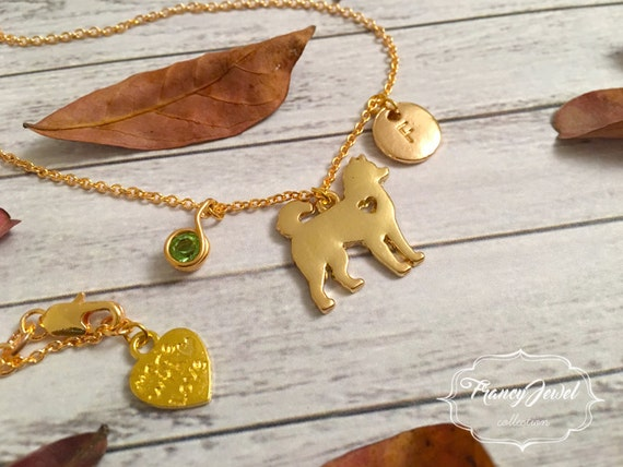 Dog necklace, gold custom initial, personalized birthstone, dog shaped necklace, gold dog charm, dog jewelry, gold plated animal jewelry