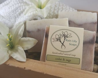 Cedar & Sage Soap, Natural Soap, Handcrafted Soap, Bar Soap, Men's Soap, Vegan Soap