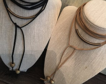 Faux suede wrap necklace