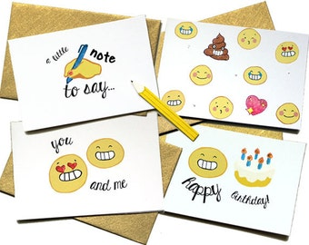 Greeting card set - kid cards - all occasion card - glitter card - emoji card - card for her - card for him - blank card