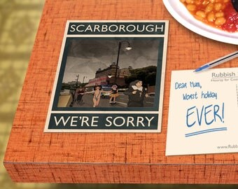 Scarborough: We're Sorry - A6 Rubbish Seaside Postcard