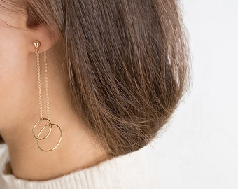 Circle Drop Earrings,Gold Circle Earrings,Long Earrings,14K Gold Filled