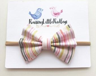 Pastel Paint Stripe Classic Bow