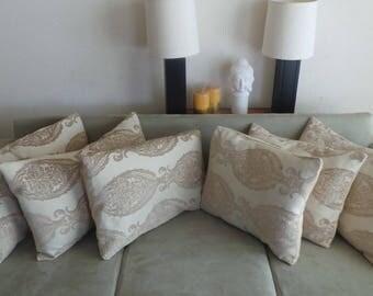 Large Opulent Embossed Cream/Beige Modern Living Room damask cushion.
