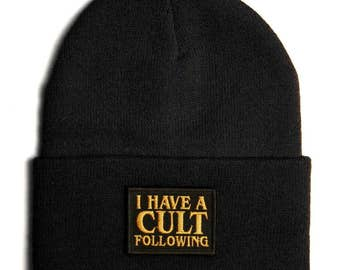 I Have A Cult Following Beanie - Stephen King Font UFO Aliens Exist Los Angeles Hollywood - Black Toque Hat 420 Alienoid Head Warmer Cap