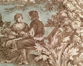 "Beautiful toile fabric 54"" wide decorator quality 1 1/2 yard piece"