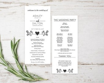 Wedding Program Template Download, DIY Wedding Program Templates Printable, Wedding Program PDF,  DIY Wedding Program Templates Printable,