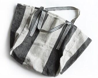 Linen tote bag. Organic Linen Market Bag, Linen Beach Handbag. Shabby Chic/ Boho