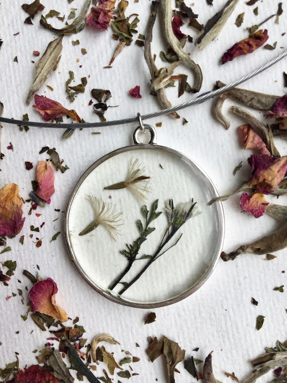 Real liatris seeds and bittercress flower necklace