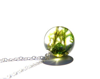Moss necklace, Resin pendant, real moss, moss jewelry , resin necklace, moss and resin, resin jewelry, unique gift, nature lovers