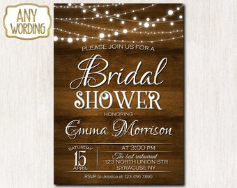 Wood and lights bridal shower invitation, Rustic Bridal Shower Invitation, Wedding Shower invitation, Rustic invitation - 1645
