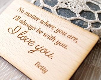 Wallet insert card, 5th wedding anniversary gift idea, wooden anniversary gift, wooden wallet card, wood wallet insert, custom engraved