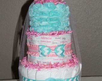 Baby Girl Diaper Cake Teal & Pink Roses