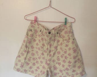 yellow shorts with pink flowers