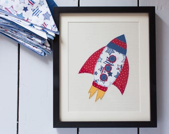 Red, Blue Rocket embroidered, mounted and framed. Can be Personalised. Bespoke gift. Great present for new baby, childrens room, Stars, boys