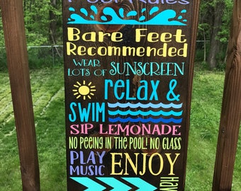 Pool Rules Wood Sign | Custom Family Pool Rules Sign | Summertime Pool Rules for home