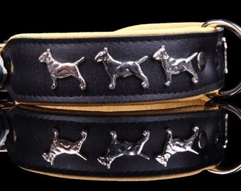 Dog collar - leather - genuine leather necklace - Bull Terrier dog